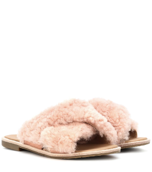 4e48e768453 Women's Joni Lamb Fur Crisscross Slide Sandals in Pink