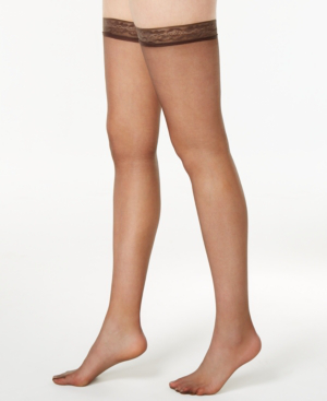 caf4d9e48475d Hanes Women's Silk Reflections Silky Sheer Thigh Highs 720 In Barely Black-  Nude 03