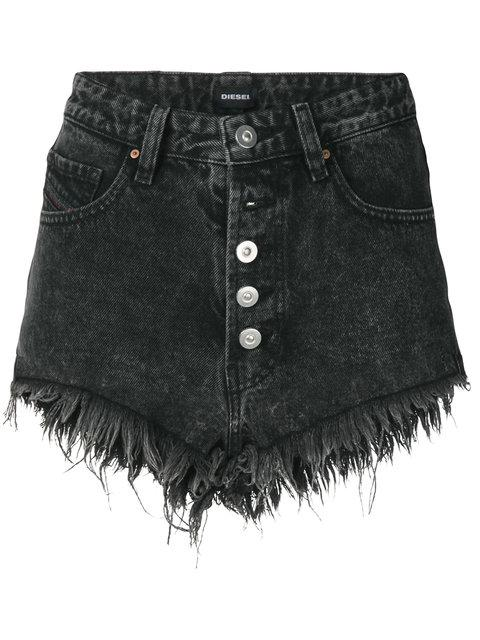 Diesel Denim High Waist Shorts - Black