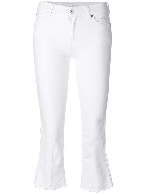 7 For All Mankind Crop Flare Jeans In White