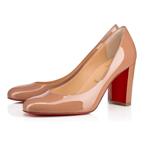 the best attitude de52d 00bd6 Cadrilla Patent Block-Heel Red Sole Pump in Nude