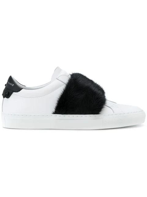 Givenchy Urban Street Leather & Fur Sneakers - White, Black