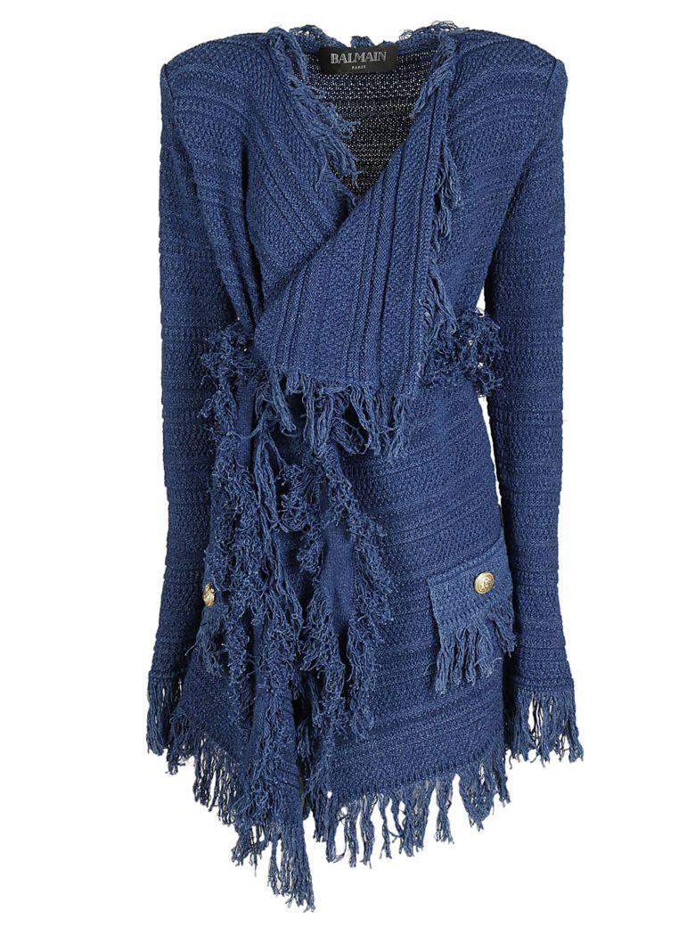 Balmain Frayed Cotton-Knit Mini Dress In Blue