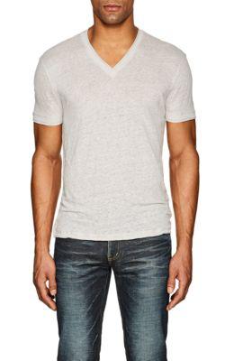 John Varvatos Slub Linen T-Shirt In Dark Gray