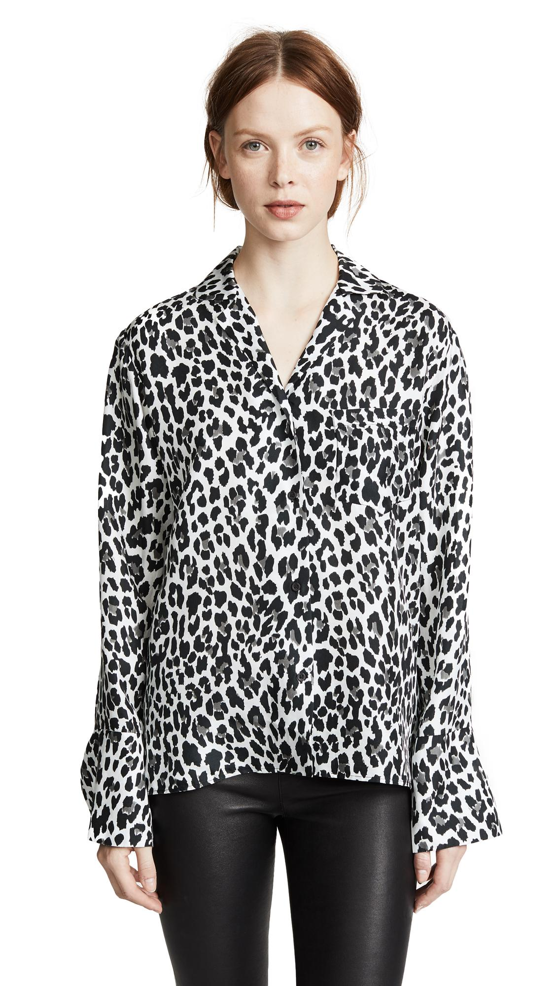 29e17d73e99d Rta Yvonne Button-Down Leopard-Print Silk Blouse In Wild Snow | ModeSens