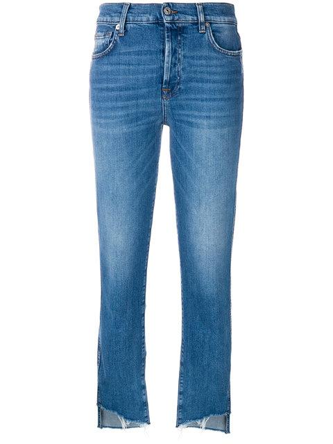 7 For All Mankind Cropped Denim Jeans In Blue