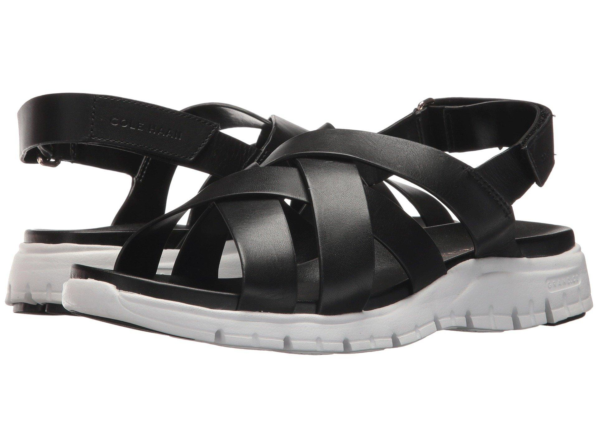 20bc47c97 Cole Haan Zerogrand Crisscross Sandal Ii In Black Leather Optic White