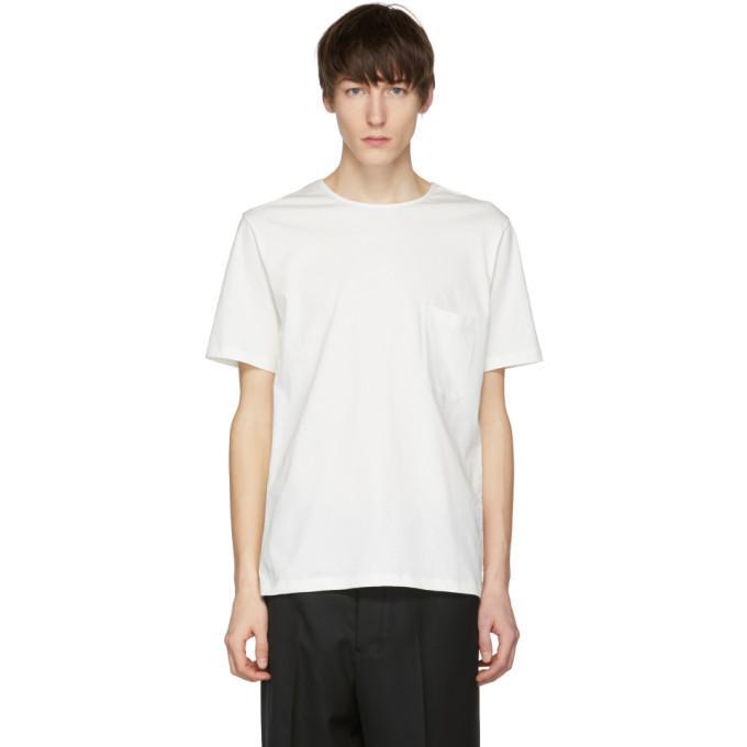 Lemaire White Pocket T-Shirt In 000.Chlk