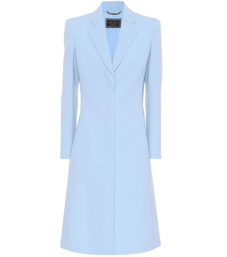 Versace Snap Button Coat In Llue