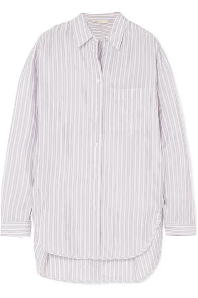 c54cba4467 Maje Celina Striped Satin Shirt In White   ModeSens