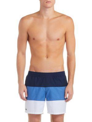 3173e5bb8fd358 Lacoste Color-Block Taffeta Swim Trunks In Blue