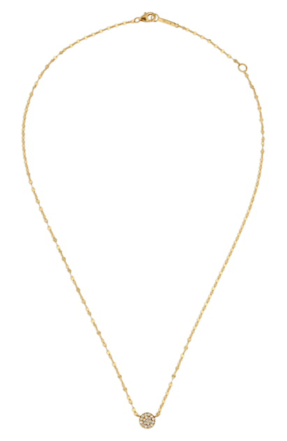 Lana Pave Diamond Circle Charm Necklace In Yellow Gold/ Diamond