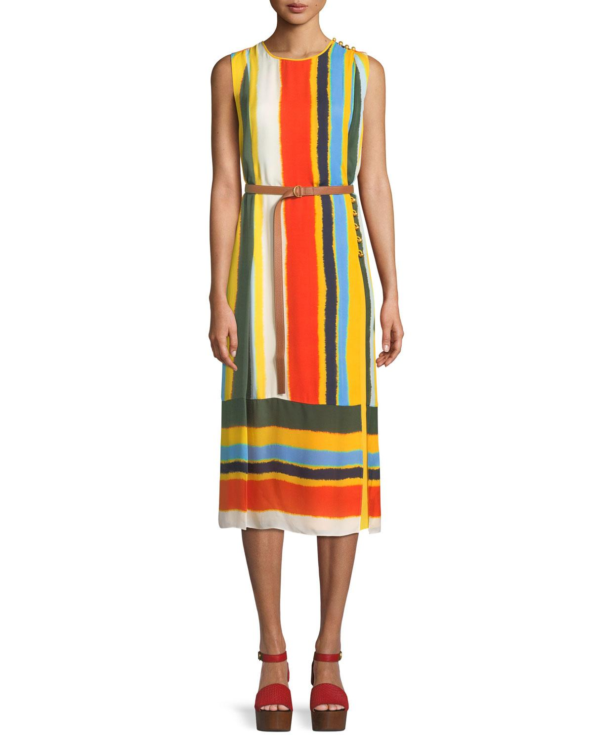 a00cf69df72f6 Tory Burch Bettina Runway Striped Silk Dress In Multicoloured