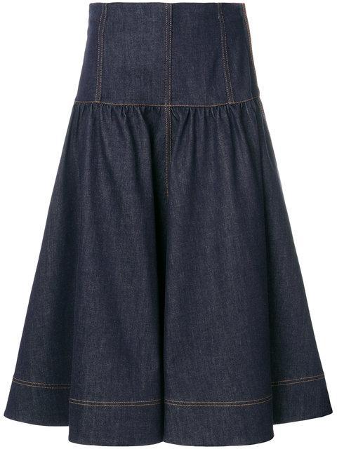new styles ba4ff f3786 Fendi Ausgestellter Jeans-Midirock - Blau