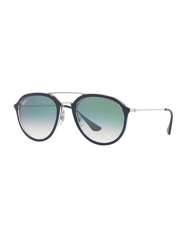 76055a262 Ray Ban Framed Aviator Sunglasses In Black/Green | ModeSens