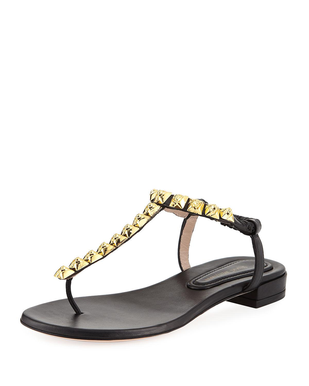 7a36050bc094 Stuart Weitzman Black Leatherthe Esme Flat Sandals