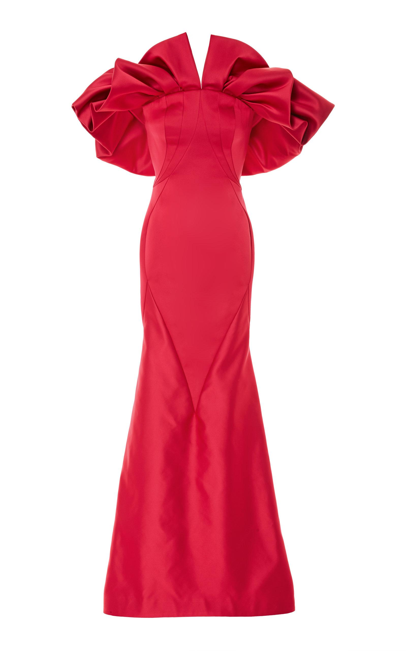 Zac Posen Pleated Shoulder Gown In Red