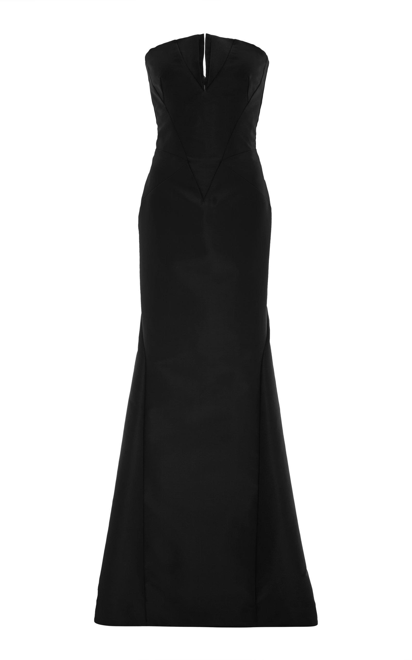 Zac Posen Strapless Gown In Black