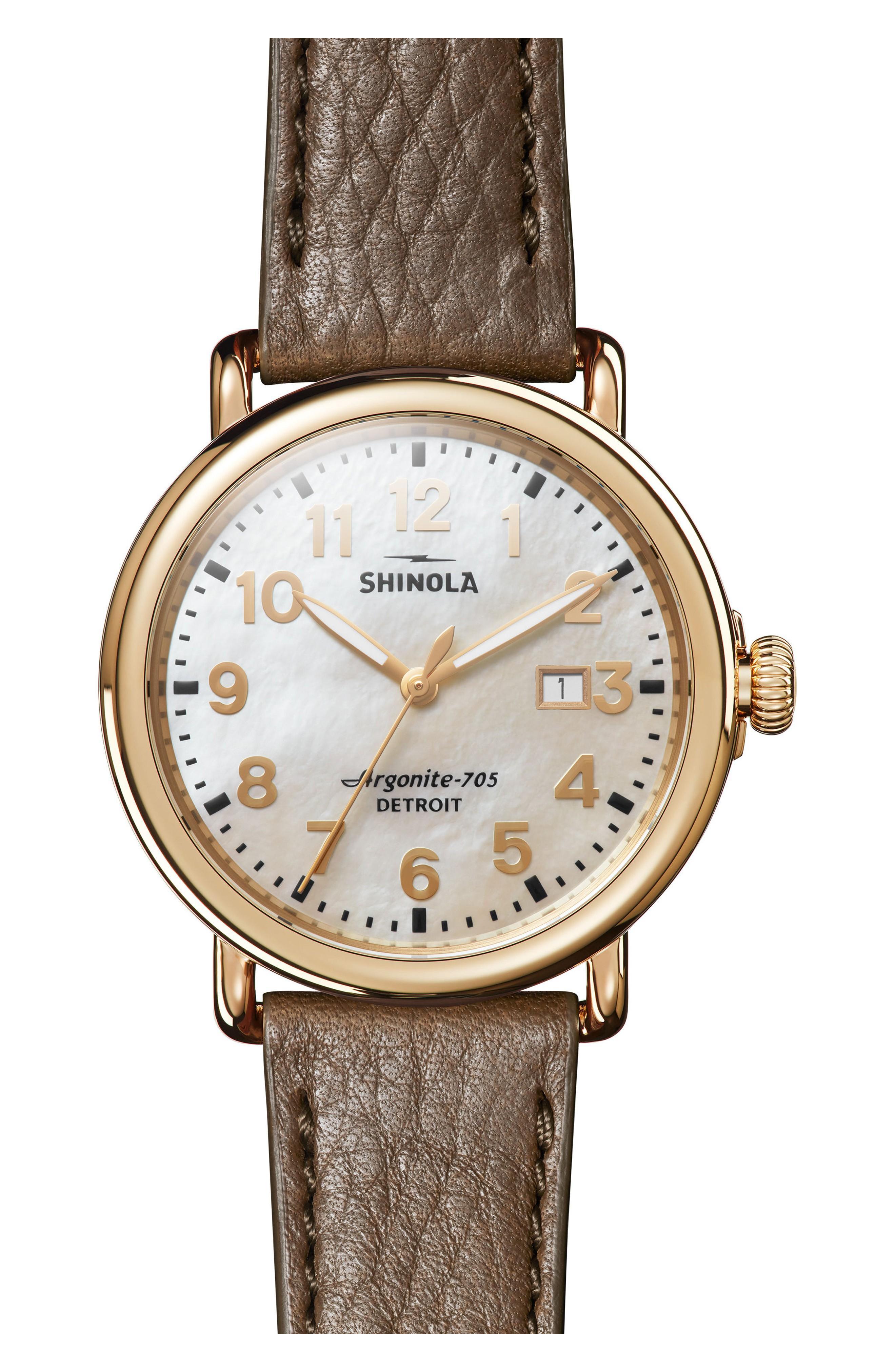 Shinola 'Runwell' Leather Strap Watch, 41Mm In Walnut/ Mop/ Gold
