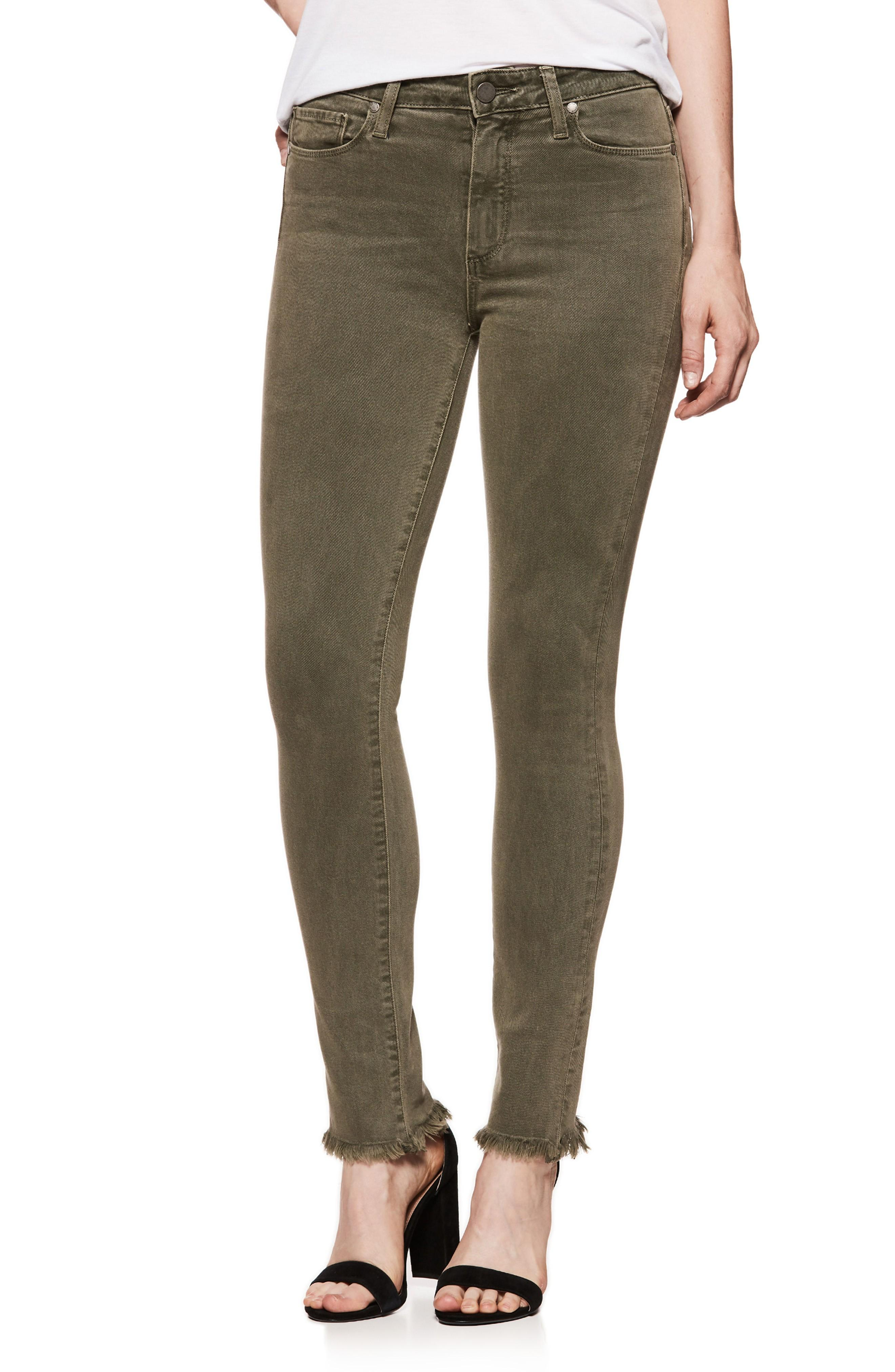 4e6fb2df017ac Paige Hoxton High Waist Ankle Skinny Jeans In Vintage Green