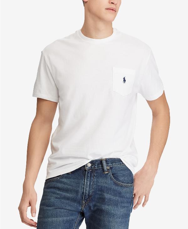 7792ae723 Polo Ralph Lauren Men's Crew Neck Pocket T-Shirt In White | ModeSens