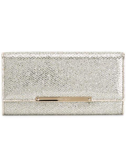 Jimmy Choo Marilyn Champagne Glitter Fabric Accessory Clutch Bag In Metallic