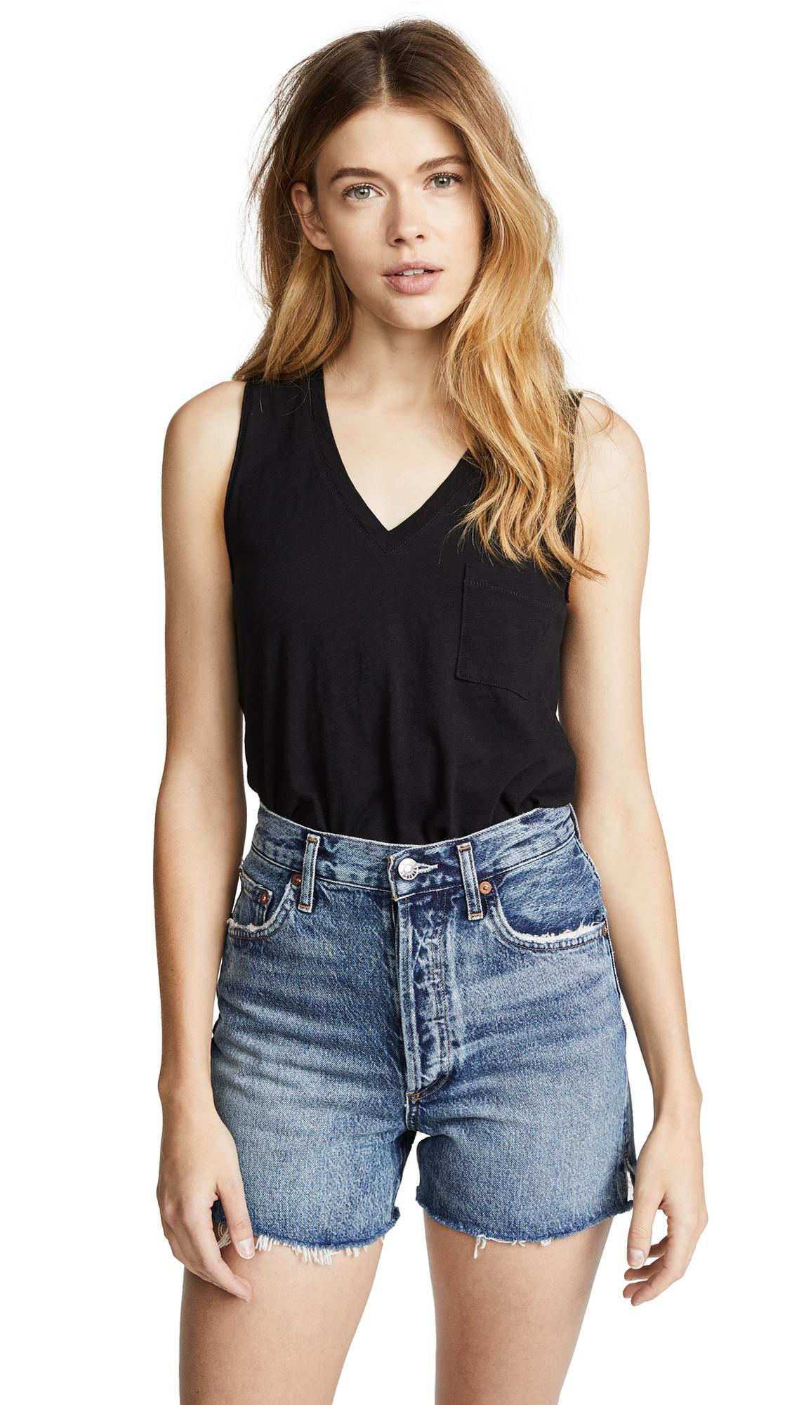 0de207520d889 Madewell Whisper Cotton V Neck Pocket Tank In True Black