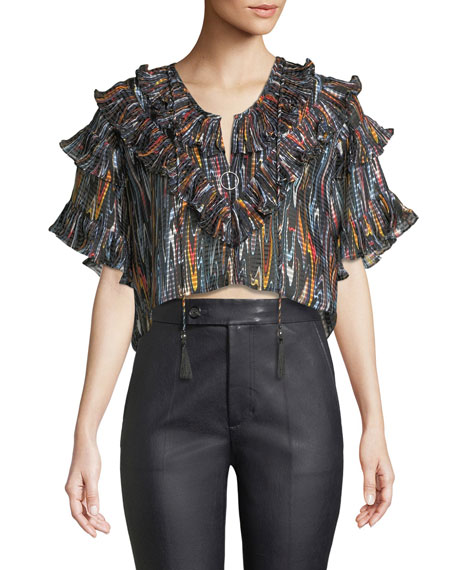 02d633ea5c312d Opening Ceremony Marble Ruffle Cropped Blouse In Black Multi