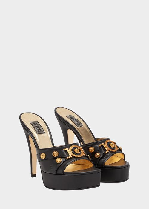 577a7fd77d Versace Tribute Leather Mules In Black + Gold. SIZE & FIT INFORMATION