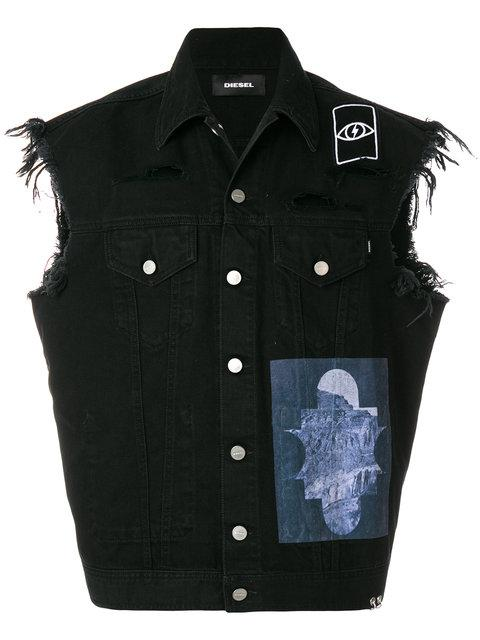 Diesel Denim Gilet - Black