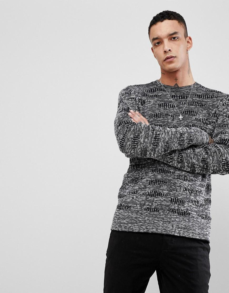 Allsaints Knitted Sweater In 100% Cotton - Black