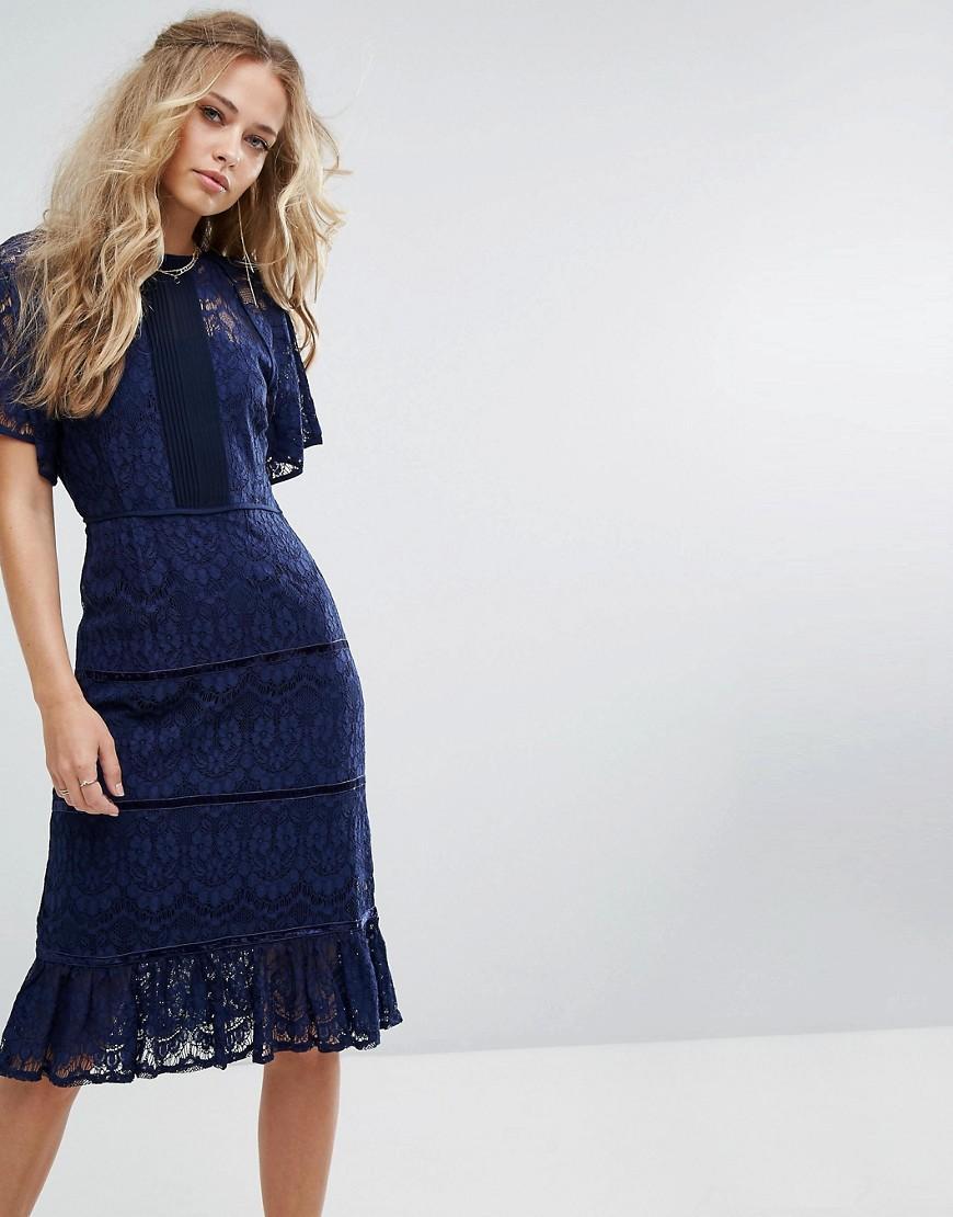 Foxiedox Lace Panel Midi Dress - Navy