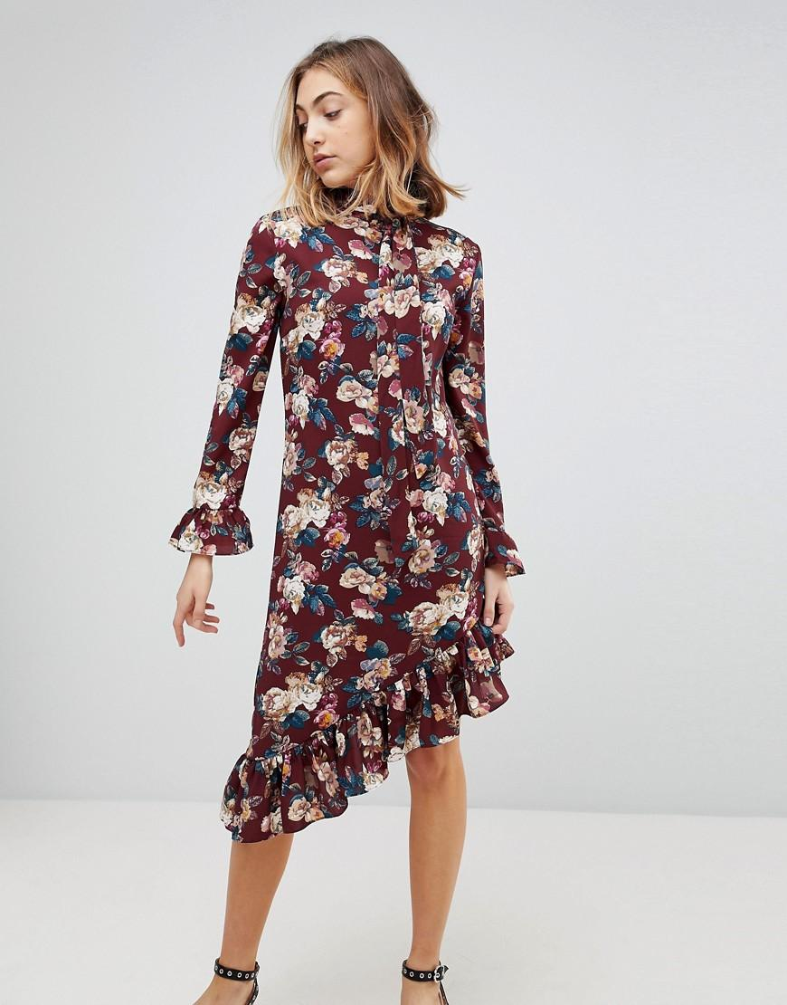 Walter Baker Gayle Asymmetric Hem Floral Print Dress - Red