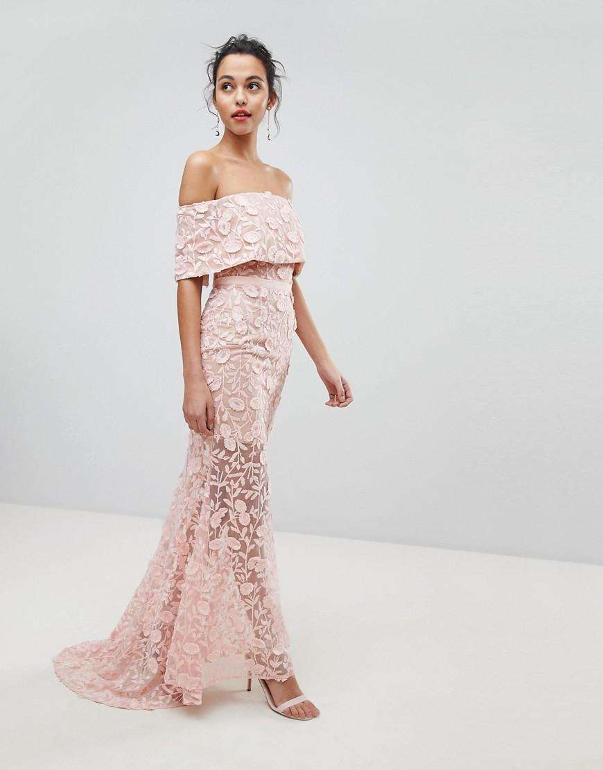 e545b25c899ac Jarlo All Layered Bardot All Over Embroidered Lace Maxi Dress - Pink ...