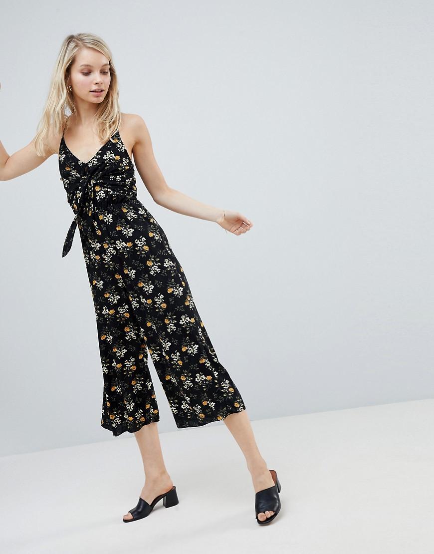 00273a0292 New Look Floral Tie Front Jumpsuit - Black