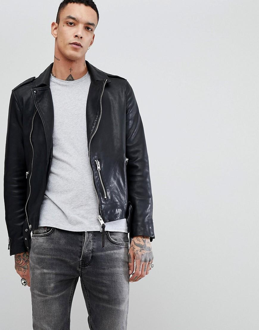 Allsaints Leather Biker Jacket In Black - Black