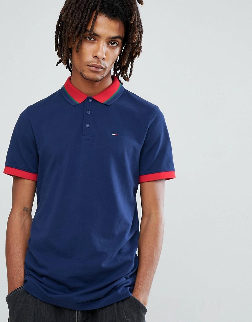 f84ab41a Tommy Jeans Icon Tipped Polo Pique Flag Logo In Navy - Navy | ModeSens