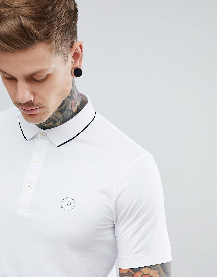 f1108681 Armani Exchange Slim Fit Tipped Collar Logo Polo In White - White ...