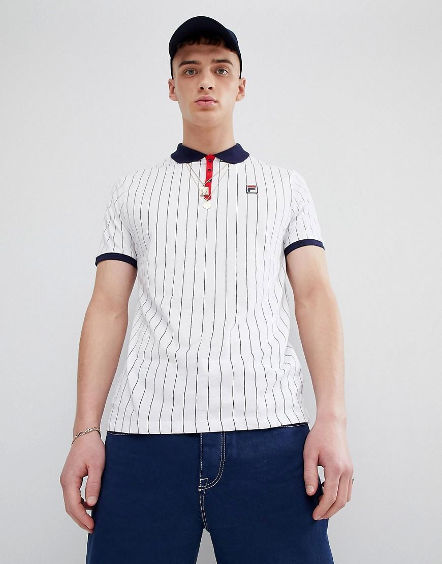 434c860e9ca7 Fila Vintage Striped Polo Shirt In White - White | ModeSens