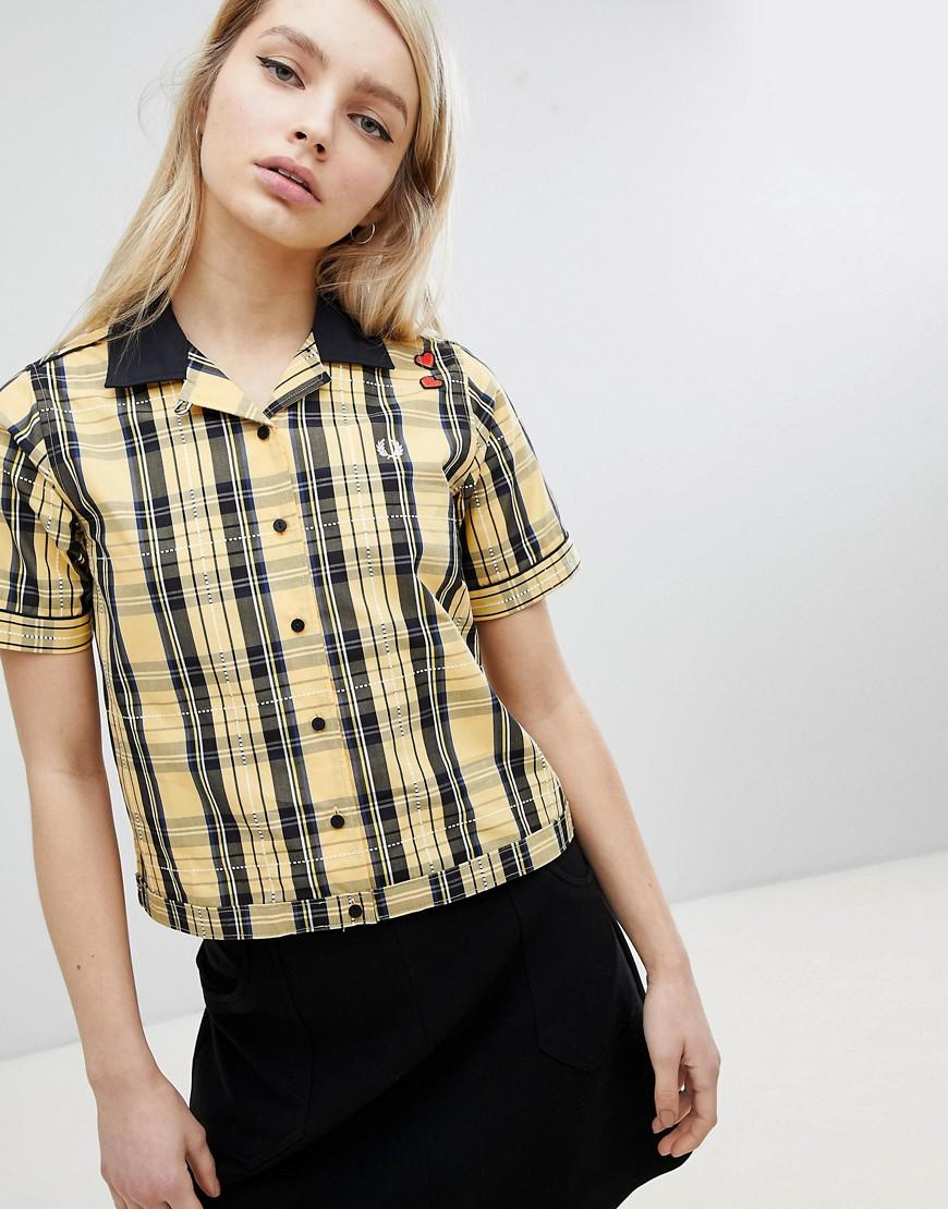 cfde3869 Fred Perry Amy Winehouse Foundation Plaid Check Bowling Shirt - Yellow
