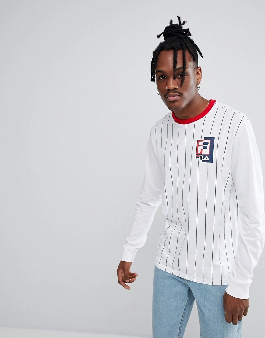 81f86d1cfa79 Fila Black Line Striped Long Sleeve T-Shirt With Logo In White - White