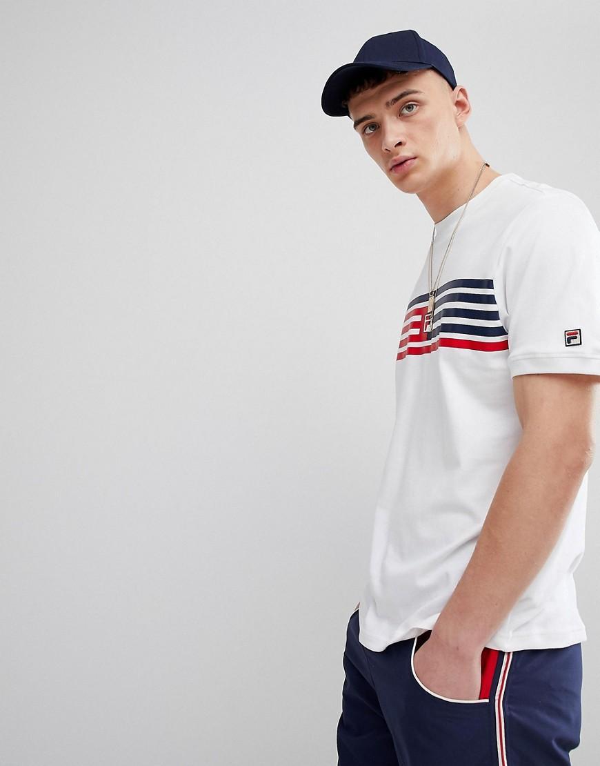 bbda08b4ebbb Fila Vintage T-Shirt With Stripe Panel Box Logo In White - White ...