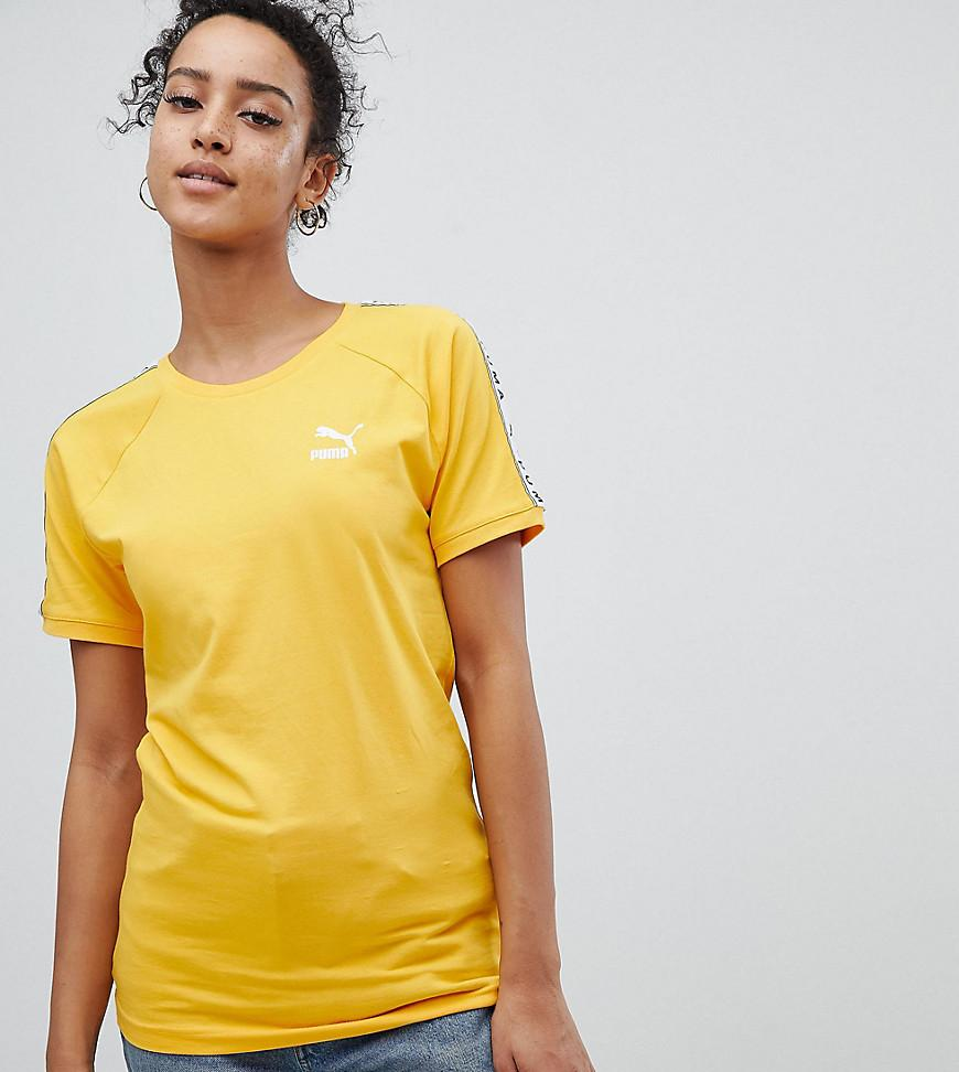 53bc6ed36df Puma Exclusive To Asos T-Shirt With Taped Side Stripe In Yellow - Yellow