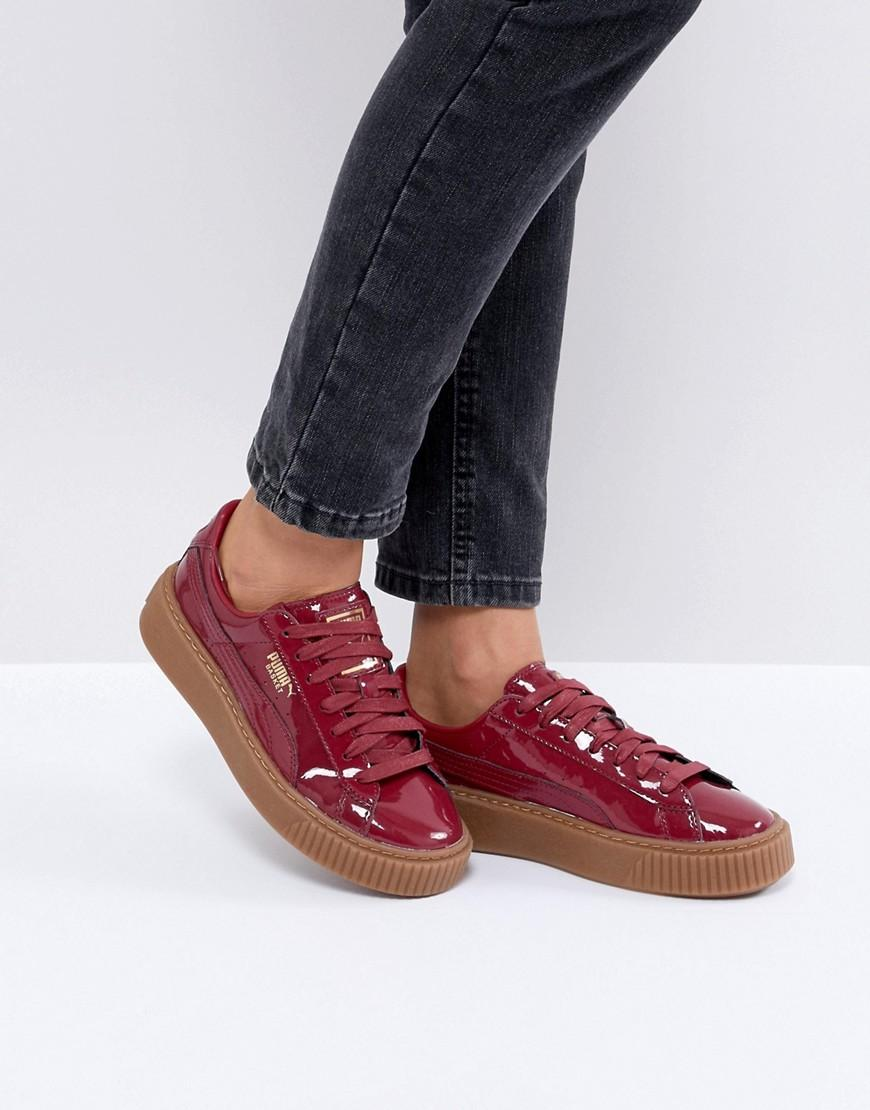 Puma Basket Platform Patent Sneaker - Red