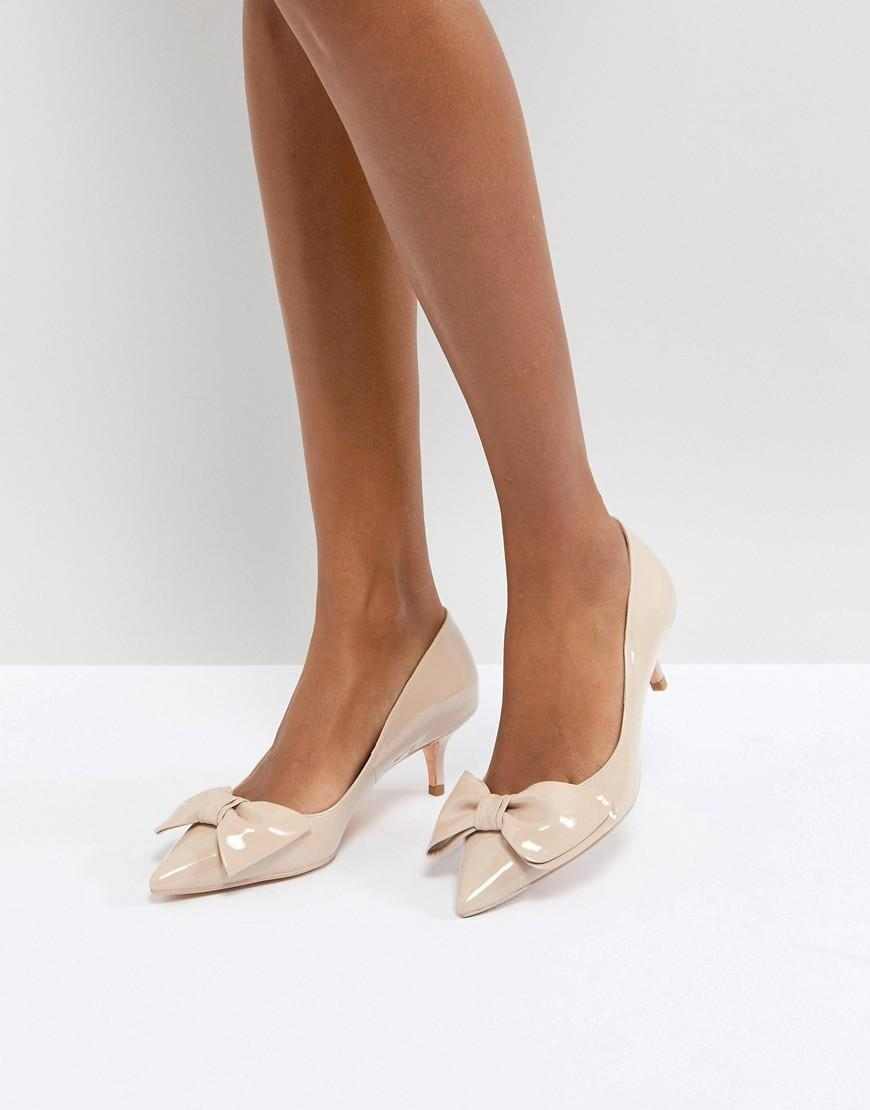 6f2e3312cf Dune London Kitten Heel Shoe With Bow - Cream | ModeSens
