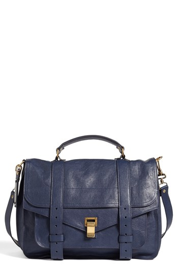 Proenza Schouler Ps1 Large Leather Satchel In Midnight