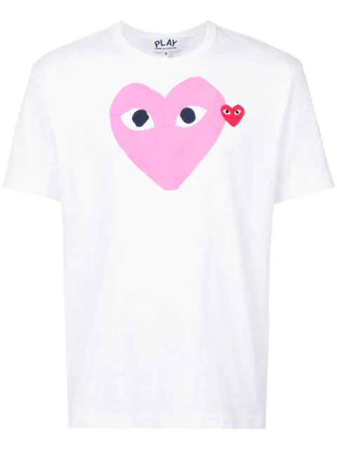 Comme Des Garçons Play Comme Des Garcons Play Red Heart Colour Heart Tee In White