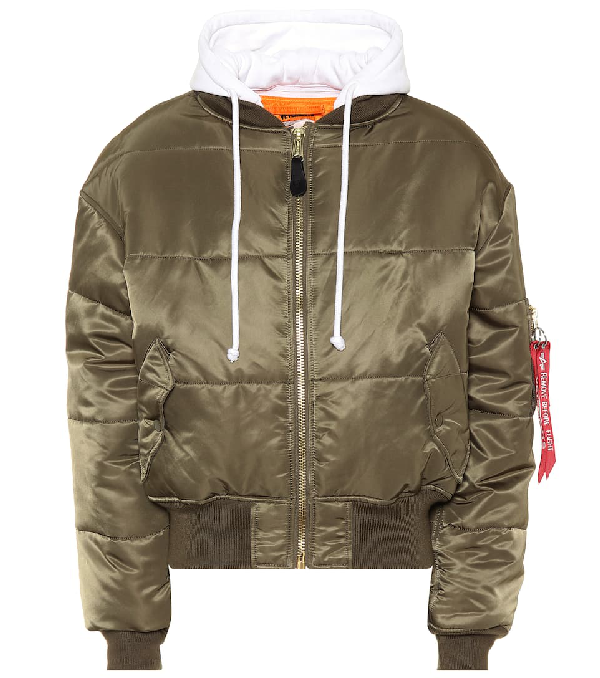 f98a1bae7 Khaki Reversible Cropped Bomber Jacket in Green