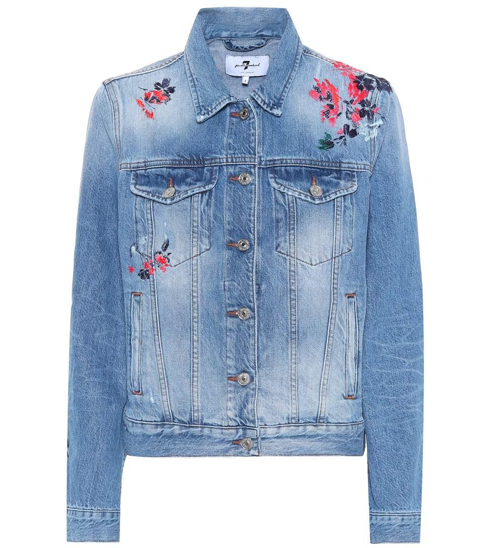 7 For All Mankind Flower Embroidered Denim Jacket In Firework