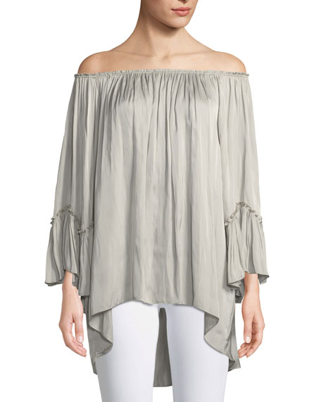 Halston Heritage Off-The-Shoulder Ruched Blouse In Stone